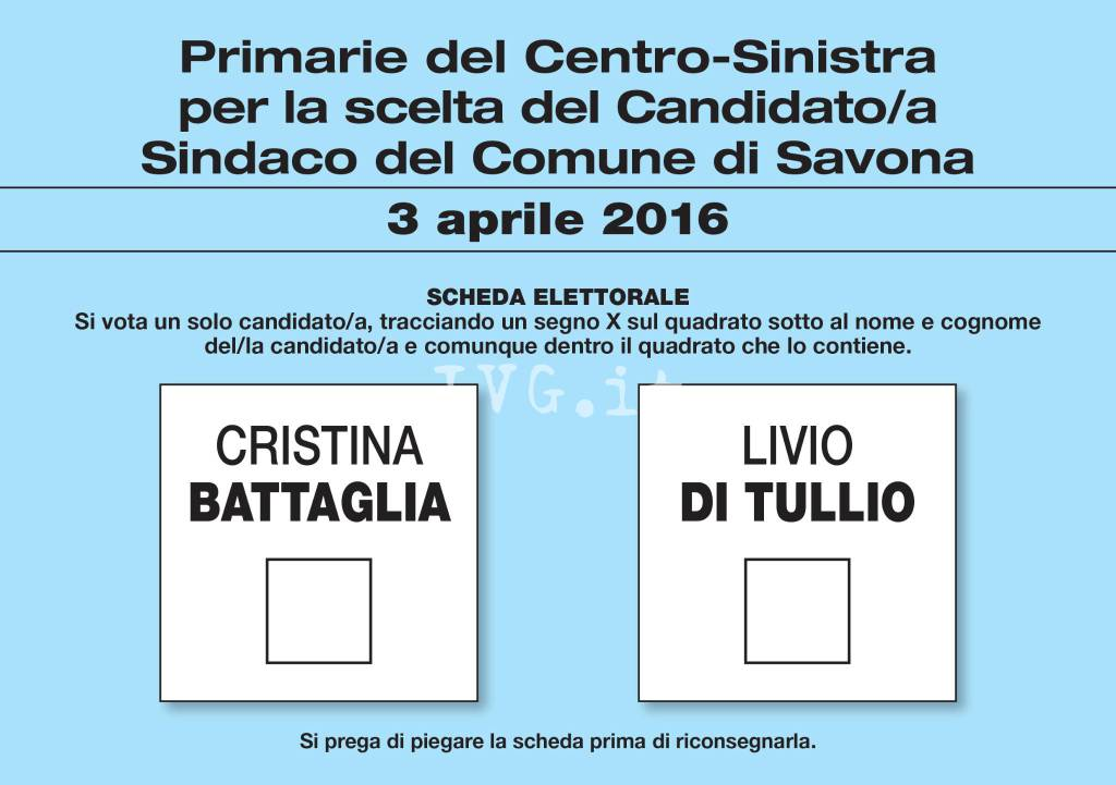 Primarie Pd Savona Scheda Elettorale 2016
