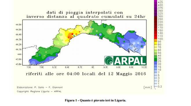 Dati pioggia Arpal