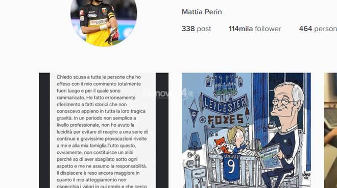 Il post di scuse di Perin su Instagram
