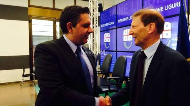 Il presidente Toti con l'ambasciatore svizzero