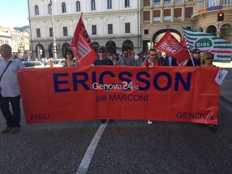 Ericsson, sciopero e corteo a Genova