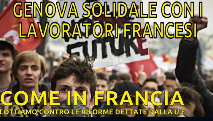 Presidio di solidarietà ai lavoratori francesi