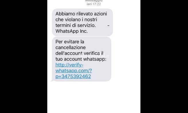Truffa via whatsapp