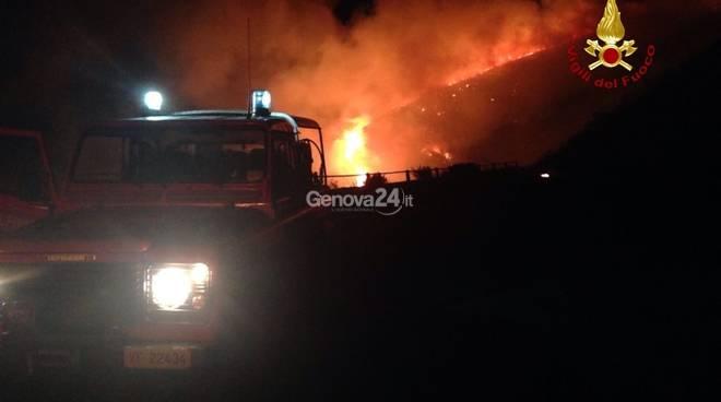Notte di incendi sulle alture di Bogliasco e sul Monte Fasce