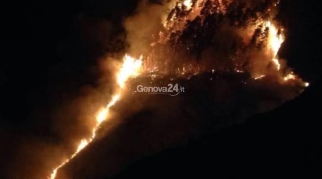 Vasto incendio boschivo sul monte Fasce