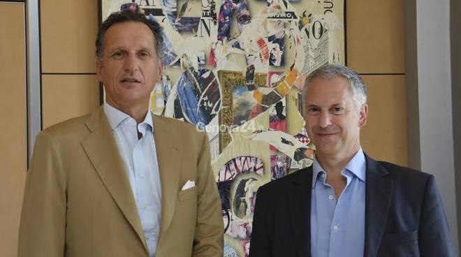 Il sindaco Doria e il presidente di Telecom Giuseppe Recchi