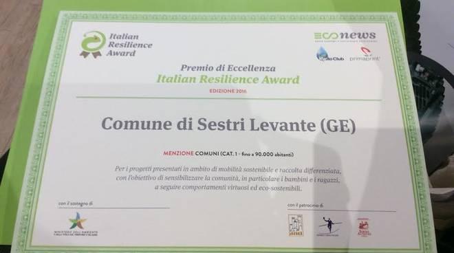 Italian Resilience Award premia Sestri Levante