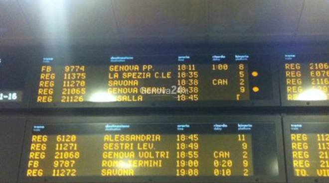 Treni in ritardo e cancellati