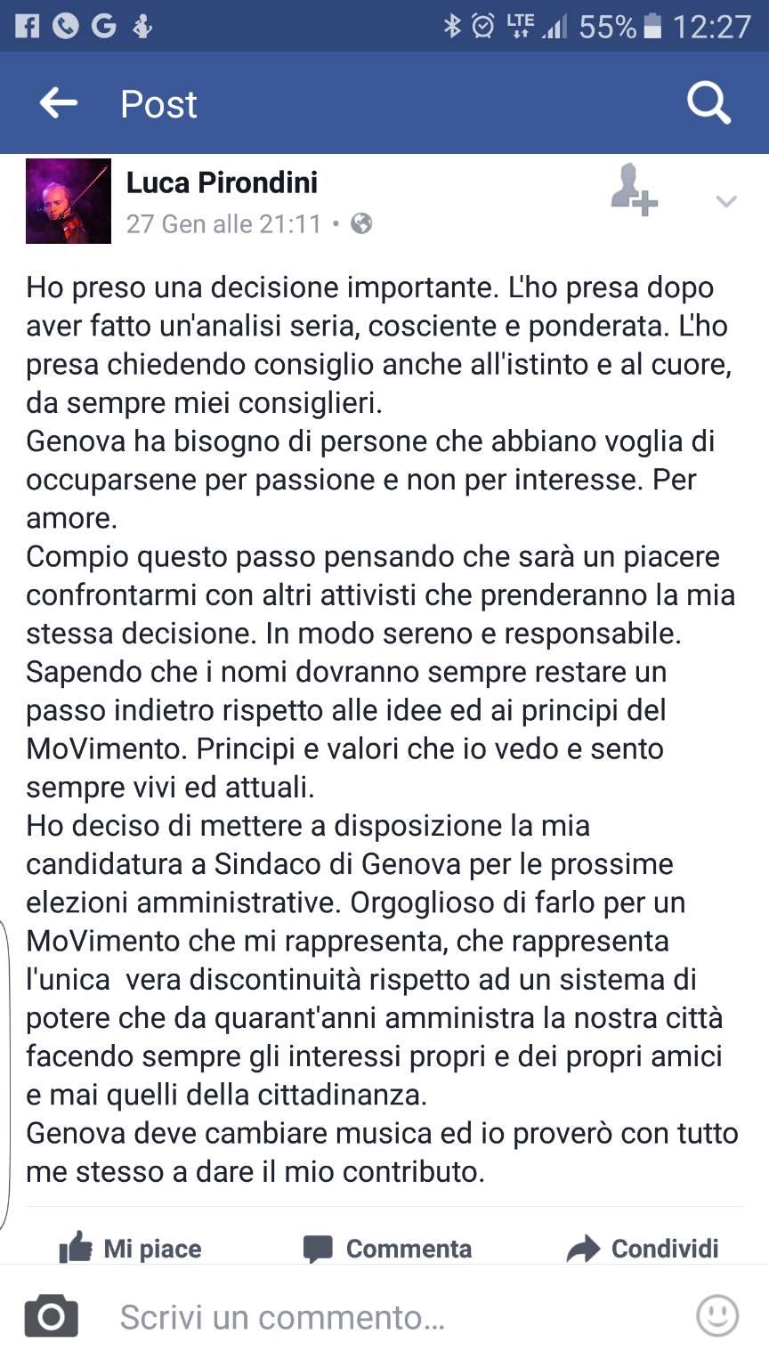 Pirondini candidatura
