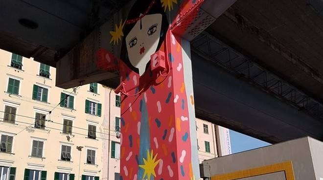 8 Marzo: il murales sulla sopraelevata di Genova
