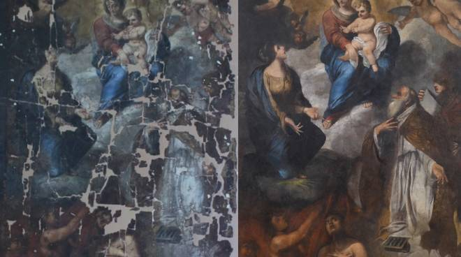 Restauro Tela Madonna Cisano