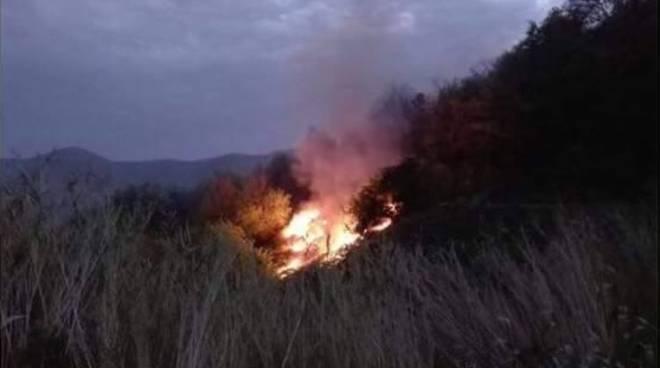 Boissano, incendio boschivo nella zona dell'invaso
