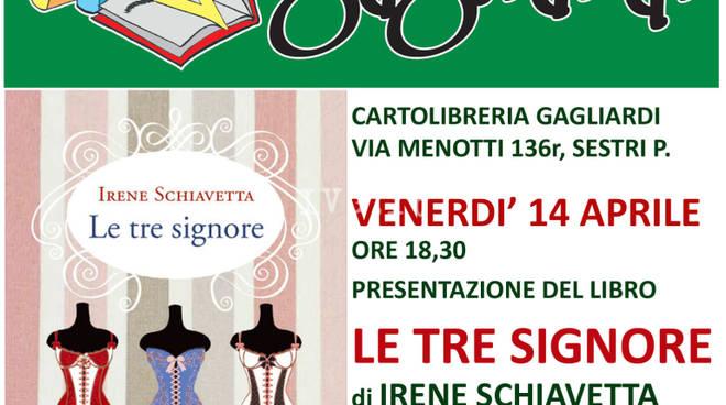 """Irene Schiavetta presenta \""""Le tre signore\"""" alla Gagliardi di Genova Sestri P."""