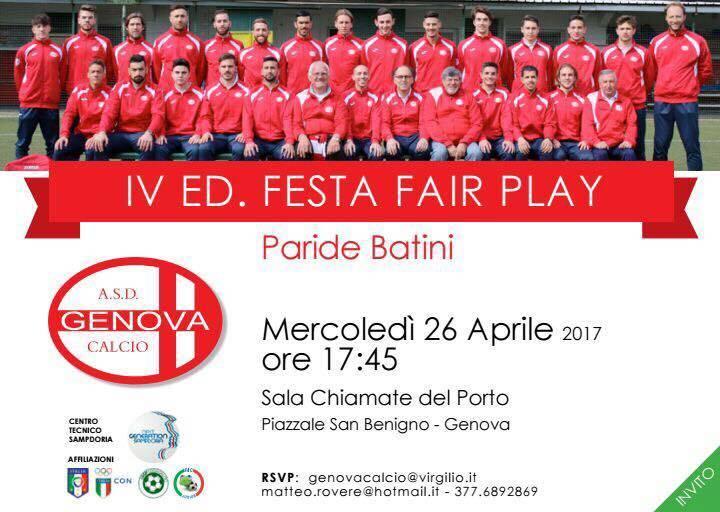 Locandina 4^ edizione premio fair play Paride Batini