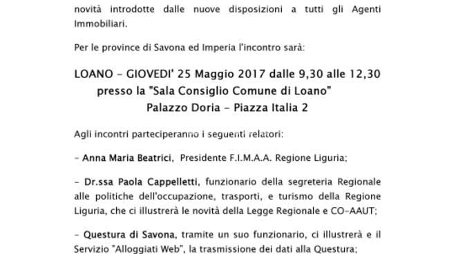 FIMAA Savona e Imperia  - Convegno informativo - Legge Regionale sulle Locazioni Turistiche Novità e Disposizioni di Attuazione - Alloggiati Web