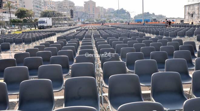 Ultimi Giorni di lavoro in piazzale Kennedy aspettando l'arrivo del Pontefice
