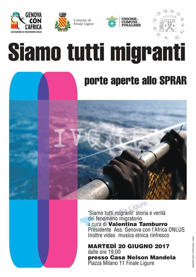 """20 giugno - Siamo tutti migranti: porte aperte al progetto SPRAR \""""Casa Mandela\"""" di Finale Ligure"""