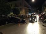 alassio incidente notte auto ribaltata vvff vigili del fuoco
