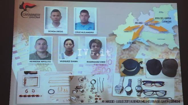 Arresto ladri colombiani gioiellerie banche Carabinieri Albenga