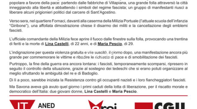 Martedì prossimo a Savona commemorazione prime martiri della Resistenza