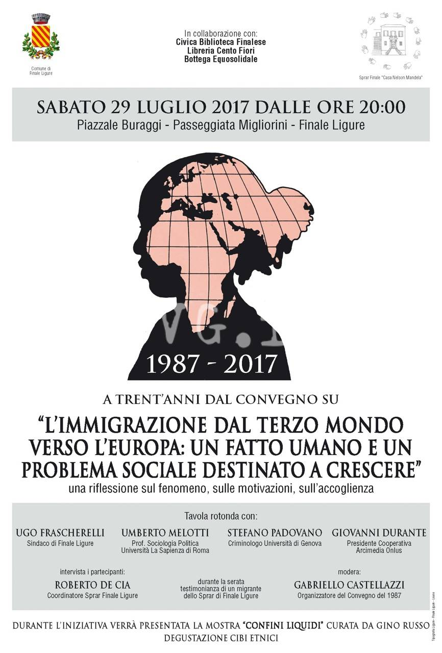 """Stasera a Finale Ligure il convegno: """"L'IMMIGRAZIONE DAL TERZO MONDO VERSO L'EUROPA: UN FATTO UMANO E UN PROBLEMA SOCIALE DESTINATO A CRESCERE""""."""