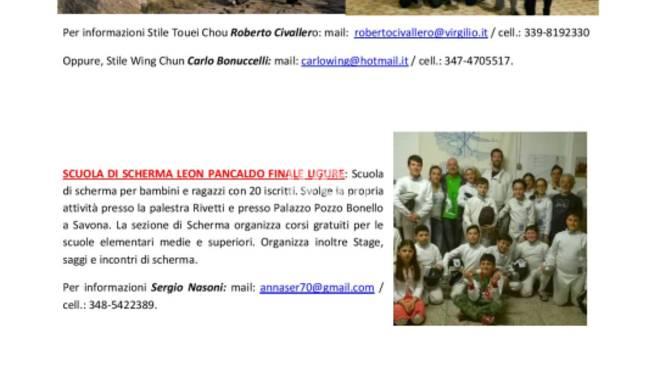 Polisportiva del Finale, sono aperte le iscrizioni ai corsi: ecco tutte le nostre ATTIVITA\'!!!!!
