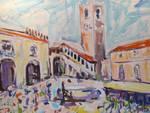 Piazza vecchia di Città Alta opera d'arte Rudy Mascheretti