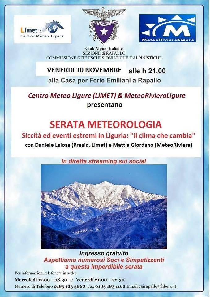 """SERATA METEOROLOGIA \""""Siccità ed eventi estremi in Liguria: il clima che cambia\"""""""