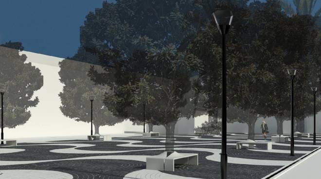 Il cantiere di piazza Vittorio Emanuele a Pietra Ligure