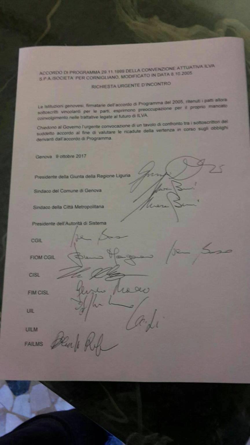 ilva firma lettera