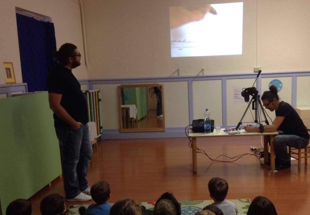 Davide Aicardi e Sergio Olivotti alla scuola dell'infanzia di Bastia d'Albenga