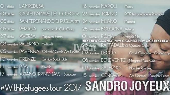 Stasera a Genova: Sandro Joyeux in concerto con il #Withrefugeestour