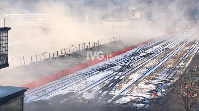 La demolizione della linea sospesa dei parchi del carbone di Bragno