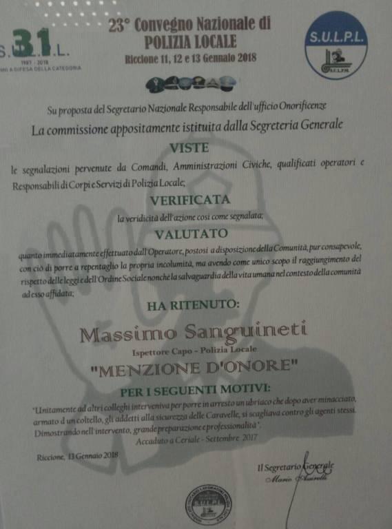 Ceriale Menzione Massimo Sanguineti