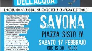 """Causa del maltempo la manifestazione \""""la Carovana dell\'acqua\"""" prevista per oggi a Savona in Piazza Sisto"""