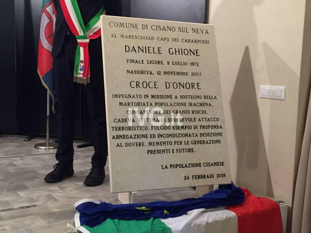 Cisano ricorda il maresciallo Daniele Ghione con una targa