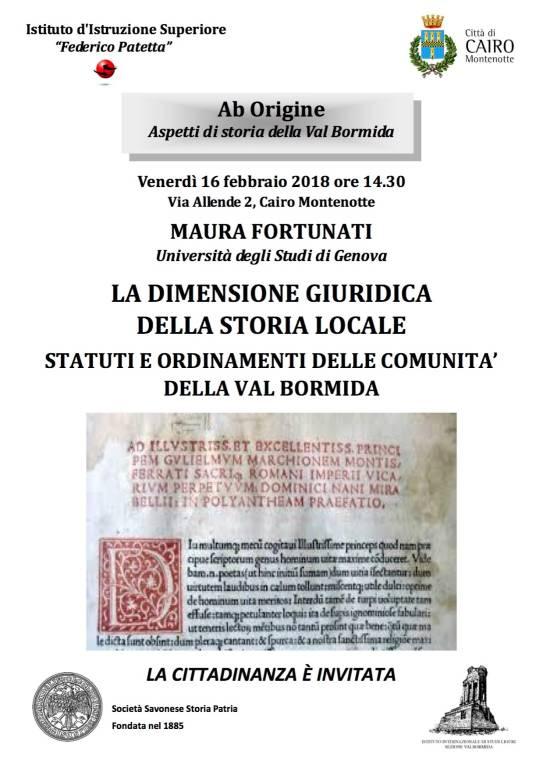 """Conferenza """"Statuti e ordinamenti delle comunità della Val Bormida"""""""