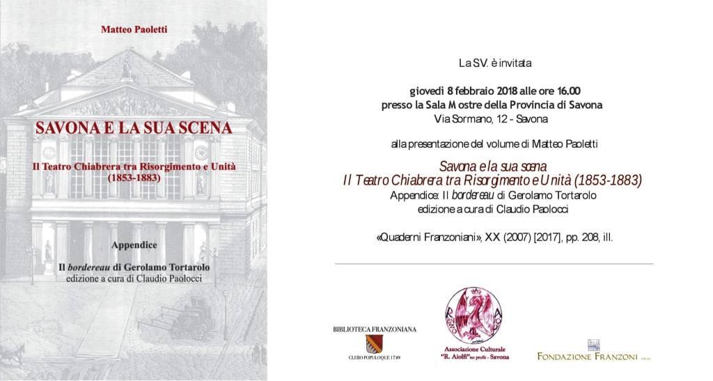 """Libro """"Savona e la sua scena"""" Matteo Paoletti"""
