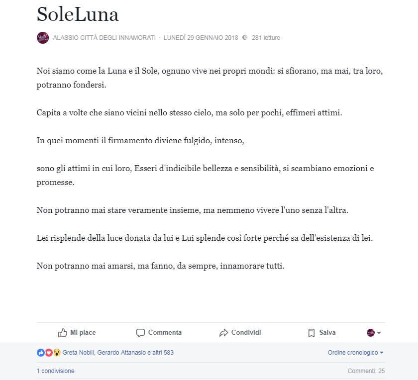 Alassio Città Innamorati Lettera 2018
