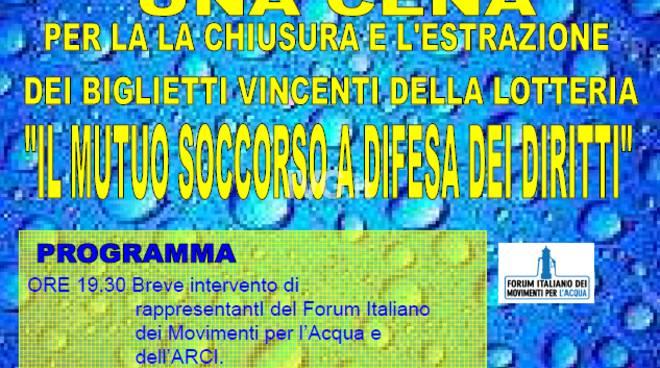 Domani sera alla SMS Cantagalletto cena di solidarietà in occasione giornata mondiale dell\'acqua