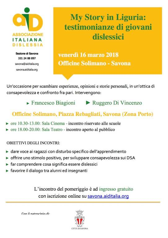 My Story in Liguria: testimonianze di giovani dislessici