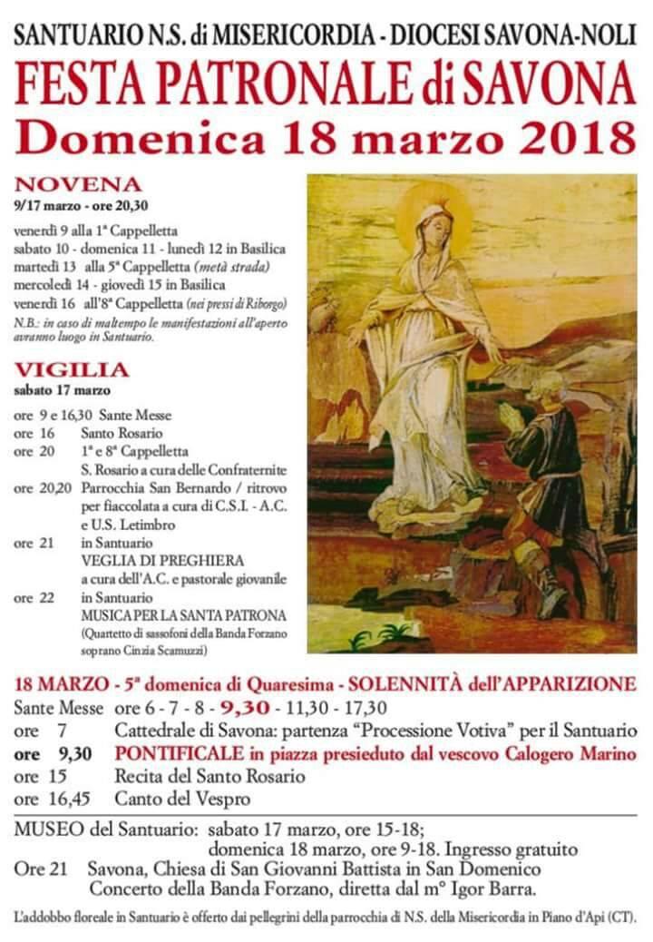 Programma festa patronale Savona 2018