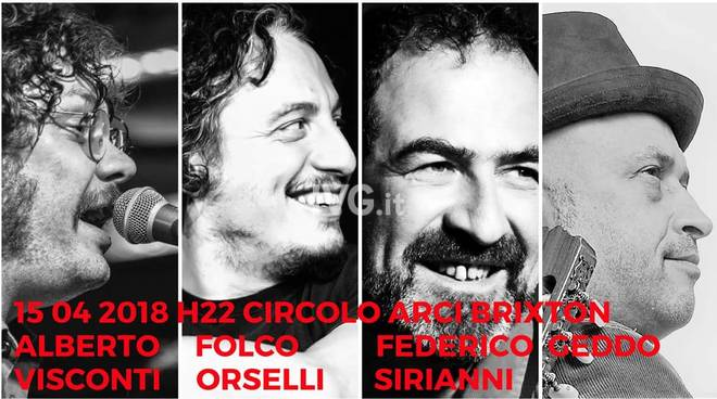 Questa sera al Circolo ARCI Brixton di Alassio: Alberto Visconti Folco Orselli Federico Sirianni Geddo Live