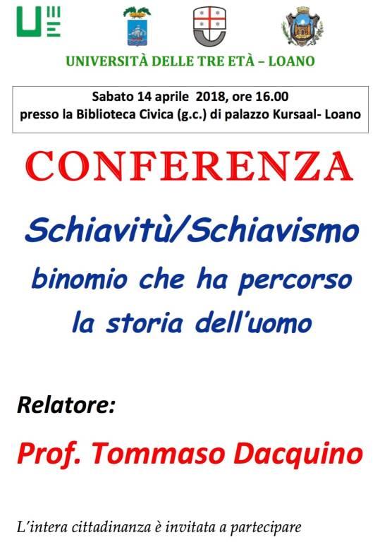 Conferenza binomio Schiavitù - Schiavismo