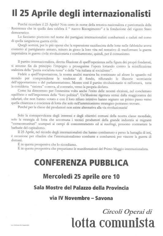 """Conferenza pubblica """"Il 25 Aprile degli internazionalisti"""""""