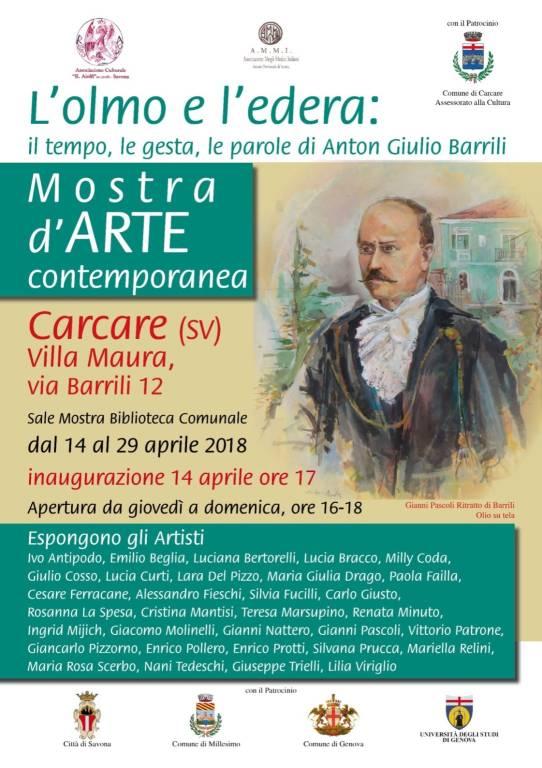 Mostra arte contemporanea Anton Giulio Barrili Carcare