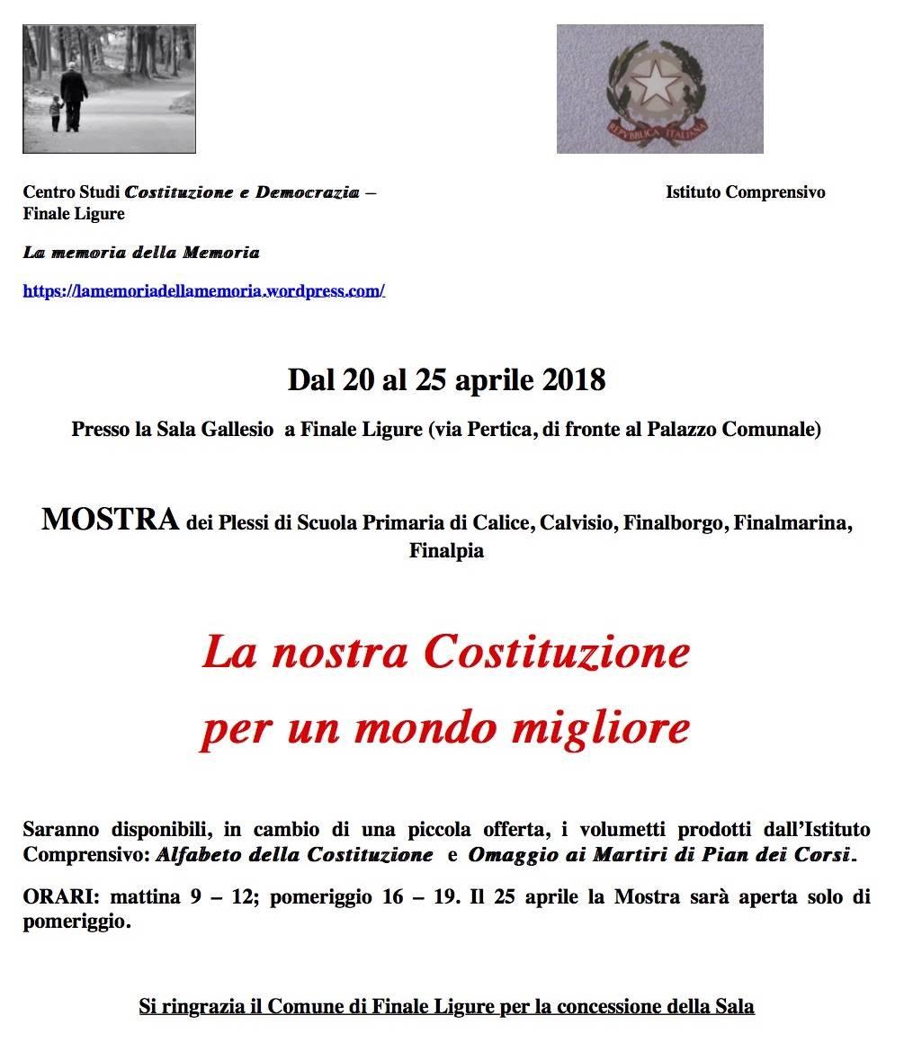 Mostra Costituzione italiana Finale Ligure