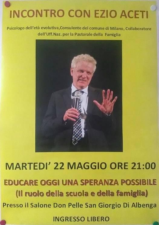Incontro psicologo Ezio Aceti San Giorgio Albenga