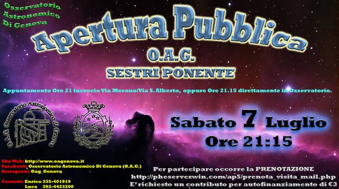 Apertura Pubblica Osservatorio Astronomico di Genova (OAG)
