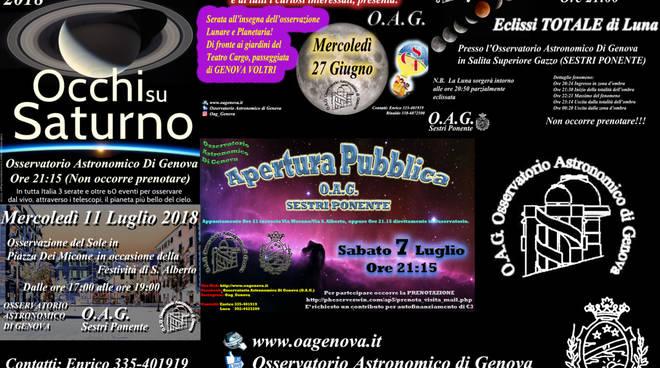 Eventi osservativi con Osservatorio Astronomico di Genova (O.A.G.)